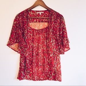 5/20$ Collective Concepts Semi Sheer Red Blouse